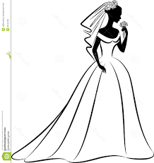 Vintage Wedding Dress Clipart Outline Silhouette