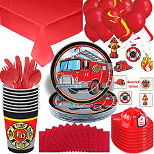100 Fire Truck Plates Fighter Party Supplies Set 16 Guest Cups Napkins