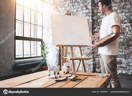 100 Art Studio Loft Man Ist Stands Front Blank Canvas Easel Palette