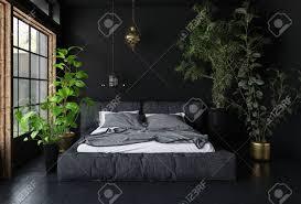 breites bett im dunklen raum mit schwarzen wänden und boden hohen topfpflanzen und großem fenster innenarchitekturkonzept 3d rendering