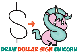 How To Draw A Cute Cartoon Unicorn Kawaii From Dollar Sign Easy Step By Drawing Tutorial For Kids