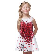 2018 Baby Girl Summer Casual Style Dress Sweet Heart Print Cotton Princess Kids Dresses For Girls Clothes Toddler Clothing In From Mother
