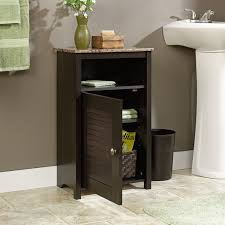 Sauder Computer Desk Cinnamon Cherry by Bathroom Floor Cabinet With Shelf And Faux Granite Top