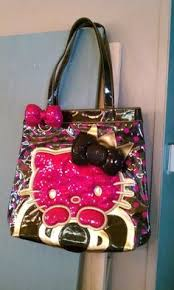 hellokitty bag in eye popping black white and red exclusive to