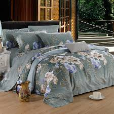 Blue Gray And Beige Folklore Flower Pattern Asian Inspired Noble Excellence Rustic Luxury 100 Egyptian Cotton Full Queen Size Bedding Sets