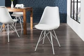 esszimmerstuhl weiß kunstleder metall retro design