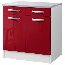 meuble cuisine meuble de cuisine bas 2 portes 2 tiroirs brillant h86x