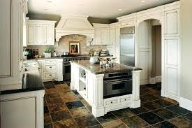 Antique White Kitchen Cabinets With Dark Wood Floors Granite