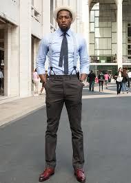 Simple Blue Dress Shirt Silk Knitted Tiemens Button Braces Dark Tapperd Trousers