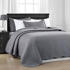 moonlight20015 gesteppte tagesdecke throw für schlafzimmer dekor bettdecke quilt set 3 grau king size