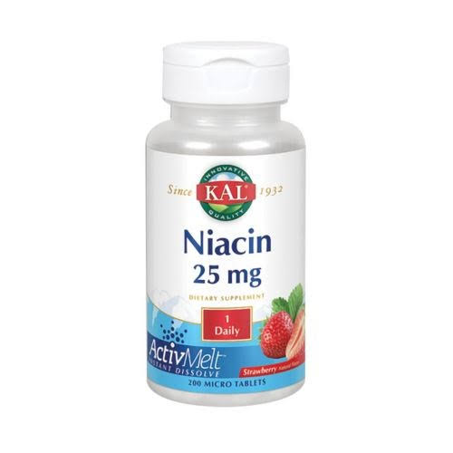 KAL Niacin ActivMelt Dietary Supplement - Strawberry, 200 Count