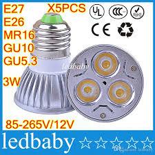 e27 e26 mr16 gu10 gu5 3 high power 3w led cup l bulbs