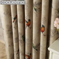 Vintage Birds Print Country Curtains For Living Room Bedroom Decorative Kitchen Drapes Window Treatments Rustic