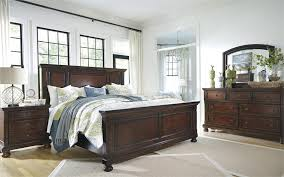 Rustic Bedroom Decorating Ideas With Ashley Porter Brown Set Dark Wooden King