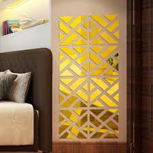 gold wandaufkleber 3d spiegel geometrische figur 32 pc