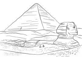 Click To See Printable Version Of Sphinx And Great Pyramid Giza Coloring Page