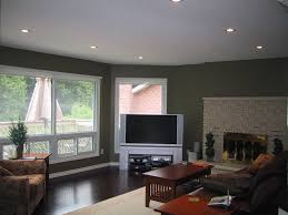 family room with fireplace and low profile recessed lights