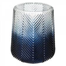 vase windlicht übertopf ø 17 12 h 18 13 5 cm glas mitternachtsblauer farbverlauf grätenstruktur
