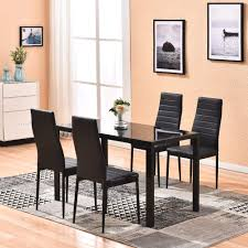 Meja Dining Table Set Kitchen Table Chair Set With Tempered Glass Top And  PU Leather Chairs(5pcs Black) Country Style Ding Table And Chairs Thelittolltiveco Details About Modern 5 Pieces Ding Table Set Glass Top Chair For 4 Person Garden Chairs White Background Stock Photo Tips To Harmoniously Mix Match Room Fniture Mid Century Gateleg And Rectangle Aberdeen Wood Rectangular Kids Bammax Toddler 4chairs Wooden Activity Indoor Play 38 Years Old Children With Planning Your Area Hot Sale 30mm Marble Seater Kitchen For Buy High Quality Tablekitchen Chairsmarble Ensemble Fold Console Quartz Royal Style