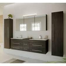 details zu badmöbel komplettset anthrazit led spiegelschrank doppel waschtisch hochschrank