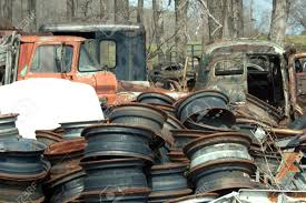 100 Trucks And Wheels At A Junkyard Stock Photo Picture Royalty