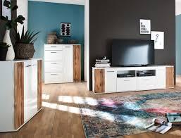 wohnzimmer gerda 31 weiß hochglanz wotan eiche 3 teilig wohnzimmerset