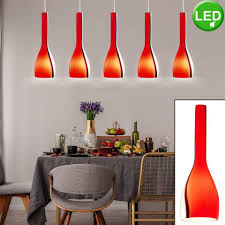 etc shop led pendelleuchte hochwertige hänge decken leuchte glas rot esszimmer beleuchtung 5 flg im set inklusive led leuchtmittel kaufen