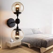 chic 2 light globe glass shade e26 e27 bedroom wall sconce