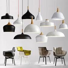 Modern Ceiling Lamps Minimalism Wood Art Black White Aluminium Pendant Lights House Dining Room Decoration
