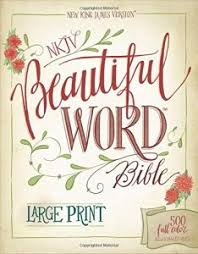 NKJV Beautiful Word Bible Large Print Hardcover Red Letter Edition 500 Full Color Illustrated Verses