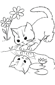 Cat Coloring Pages For Adults Kitten Cute Page Kitty Of