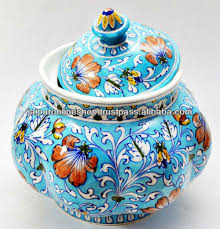Indian Handmade Ceramic Blue Pottery Kitchen Containers