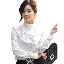 white ruffle blouse long sleeve