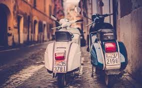 Wallpapers Collection HD Background Piaggio Vespa Scooter Road Italy Rome Rear View