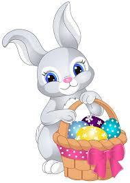 Easter Bunny with Egg Basket PNG Clip Art Image