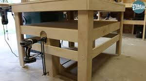 drill powered adjustable height work bench diy