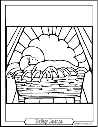 Jesus In The Crib Printable Christmas Baby Coloring Pages