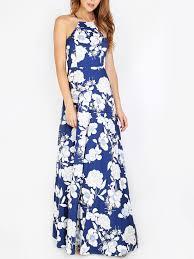 halterneck floral print maxi dress shein sheinside