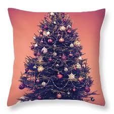 Christmas Tree Throw Pillow Featuring The Photograph Decorated Vintage With Presents Under It By