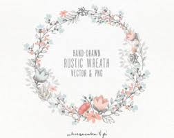 Floral Wreath Hand Drawn Clipart Wedding Invitation Clip Art Commercial Use