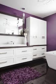 salle de bain mauve pivotante avec pôle tablettes et miroir au dos