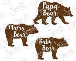 Mama Bear Baby Papa Daddy Family