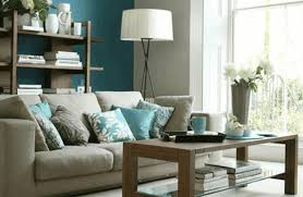 Living Room With Turquoise Accents Transparent Glass Wall Partition Furry Brown Rug Plain Tan