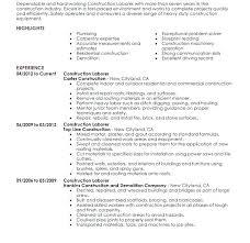 General Construction Worker Resume Sample Download Job Obj