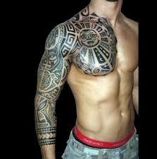 Samaon Polynesian Tattoo On Chest And Half Sleeve Photo 1