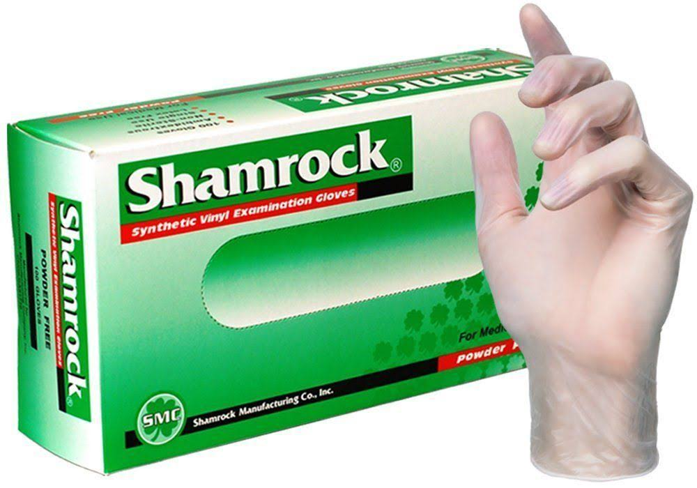 Shamrock Vinyl Smooth Exam Gloves - Medium, 100 Gloves