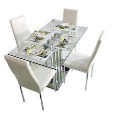 crystal grand white 4 seater glass top dining table set woodys