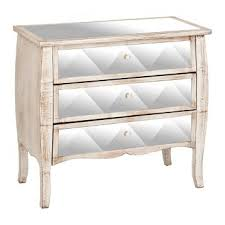 Mirrored Distressed Wood 3 Drawer Chest