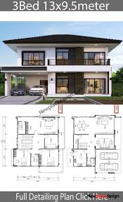 100 House Design Project Of A House 13x95m With 3 Bedrooms House 13x9