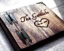 Heart Wedding Guest Book Unique Wood Leather